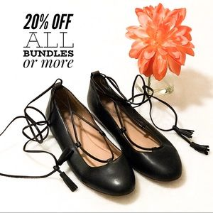 MADEWELL Ankle Tie Lace Up Flats